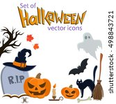 set of halloween icons. vector... | Shutterstock .eps vector #498843721
