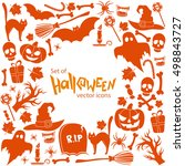 background of halloween icons... | Shutterstock .eps vector #498843727