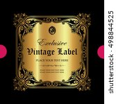 luxury ornamental label | Shutterstock .eps vector #498844525