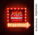 cyber monday sale retro light...   Shutterstock .eps vector #498845401