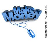 3D rendering of the words Make Money connected to a computer mouse - stock photo