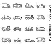 vehicles  line icons set.... | Shutterstock .eps vector #498861604