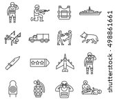 army  line icons set. military... | Shutterstock .eps vector #498861661