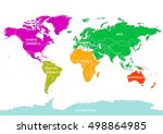seven continents world map.... | Shutterstock .eps vector #498864985