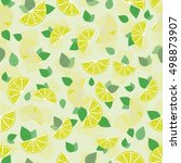 lemon mojito illustration... | Shutterstock .eps vector #498873907