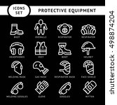 set line icons of protecting... | Shutterstock . vector #498874204