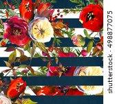 watercolor bright scarlett red  ... | Shutterstock . vector #498877075