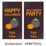 happy halloween and party... | Shutterstock .eps vector #498879241