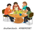 friends playing a board game. a ... | Shutterstock .eps vector #498890587