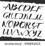 alphabet cursive big art brush... | Shutterstock .eps vector #498893425