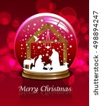 christmas snow globe with...   Shutterstock .eps vector #498894247