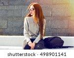 stylish outdoor autumn winter... | Shutterstock . vector #498901141