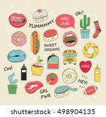 vector trendy patch badges in... | Shutterstock .eps vector #498904135