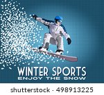the jump of the snowboarder in... | Shutterstock .eps vector #498913225