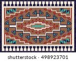colorful mosaic navajo rug with ... | Shutterstock .eps vector #498923701