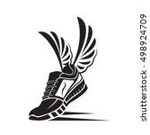 speeding running sport shoe icon   Shutterstock .eps vector #498924709