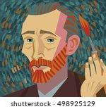 van gogh painter face drawing   Shutterstock .eps vector #498925129
