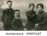 Vintage family photo (circa 1905-1910) - stock photo