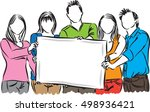 group of people showing white... | Shutterstock .eps vector #498936421