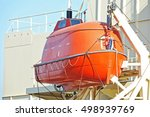safety lifeboat on deck of a... | Shutterstock . vector #498939769