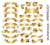 twenty three gold ribbons.... | Shutterstock .eps vector #498981337