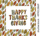 happy thanksgiving postcard... | Shutterstock .eps vector #499013869