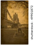 London. Vintage Tower Bridge...