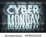 cyber monday sale glitch art... | Shutterstock .eps vector #499023109