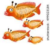 set of cartoon fish isolated on ... | Shutterstock .eps vector #499023184
