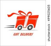delivery gift emblem. pictogram ... | Shutterstock .eps vector #499025605