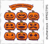 set pumpkins for halloween on... | Shutterstock .eps vector #499027591