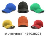 Small photo of Group of the colorful fashion caps isolated on white background.