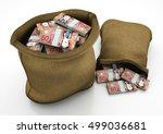 two 3d sacks of canada money... | Shutterstock . vector #499036681