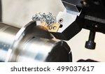 cutting tool at mechanical turning metal working - stock photo