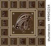 maya art boho pattern with...   Shutterstock .eps vector #499041214