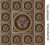 maya art boho pattern with... | Shutterstock .eps vector #499049791