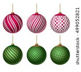 realistic set christmas color... | Shutterstock .eps vector #499052821