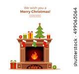 christmas fireplace room...   Shutterstock .eps vector #499065064