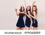 crazy party time of three ... | Shutterstock . vector #499068889
