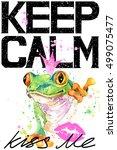 cute frog illustration... | Shutterstock . vector #499075477