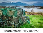 Cage For Lobster And Bay With...