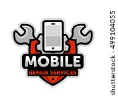 mobile repair logo emblem vector | Shutterstock .eps vector #499104055