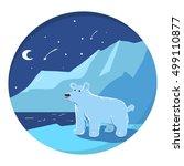 illustration with polar bear... | Shutterstock .eps vector #499110877