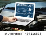 mechanic with laptop near car...   Shutterstock . vector #499116835