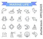 marine icons  thin line flat... | Shutterstock .eps vector #499120435