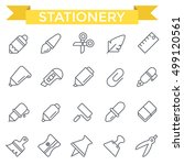 stationery icons  thin line... | Shutterstock .eps vector #499120561