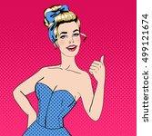 pop art beautiful young woman... | Shutterstock . vector #499121674
