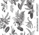vector seamless vintage floral... | Shutterstock .eps vector #499123027