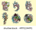 hand drawn vector set koi with... | Shutterstock .eps vector #499124491