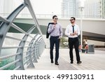 two businessmen talking during... | Shutterstock . vector #499130911